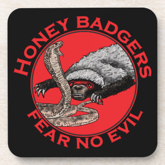 Fear No Evil Honey Badger Funny Animal Red Design Coaster