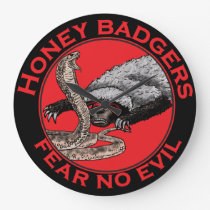 Fear No Evil Honey Badger Funny Animal Red Design Large Clock