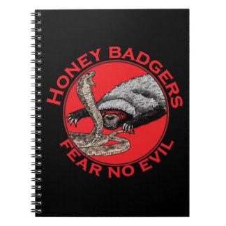Fear No Evil Honey Badger Funny Animal Red Design Notebook