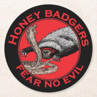 Fear No Evil Honey Badger Funny Animal Red Design Round Paper Coaster