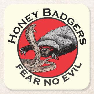 Fear No Evil Honey Badger Funny Animal Red Design Square Paper Coaster