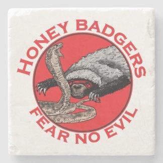 Fear No Evil Honey Badger Funny Animal Red Design Stone Coaster