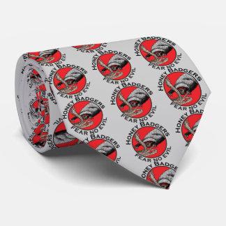 Fear No Evil Honey Badger Funny Animal Red Design Tie