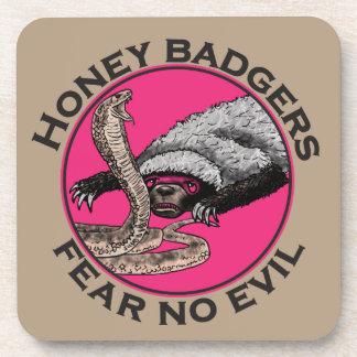 Fear No Evil Honey Badger Funny Pink Animal Design Coaster