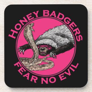 Fear No Evil Honey Badger Funny Pink Animal Design Drink Coaster