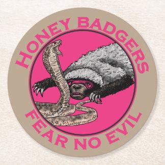 Fear No Evil Honey Badger Funny Pink Animal Design Round Paper Coaster