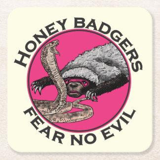 Fear No Evil Honey Badger Funny Pink Animal Design Square Paper Coaster