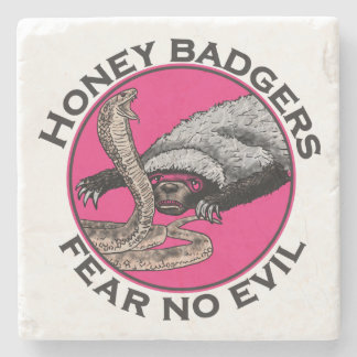 Fear No Evil Honey Badger Funny Pink Animal Design Stone Coaster