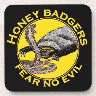 Fear No Evil Honey Badger Snake Animal Art Design Beverage Coaster