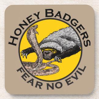 Fear No Evil Honey Badger Snake Animal Art Design Drink Coaster