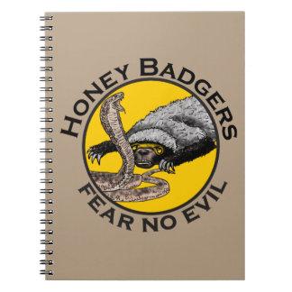 Fear No Evil Honey Badger Snake Animal Art Design Notebook