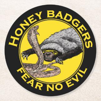 Fear No Evil Honey Badger Snake Animal Art Design Round Paper Coaster