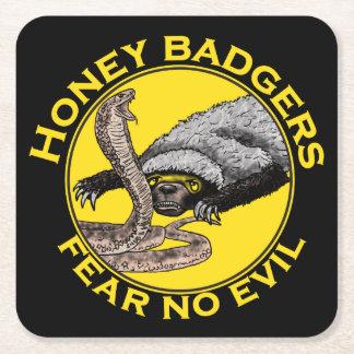 Fear No Evil Honey Badger Snake Animal Art Design Square Paper Coaster