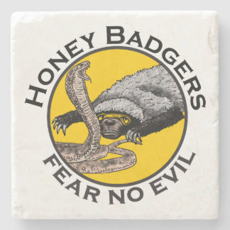 Fear No Evil Honey Badger Snake Animal Art Design Stone Coaster