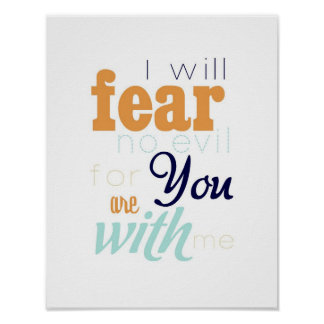 fear no evil - orange and navy blue posters