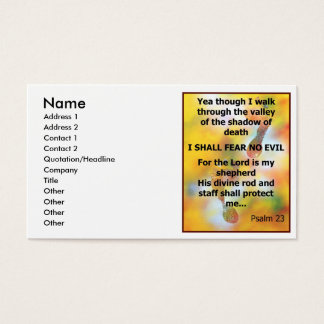 Fear No Evil Psalm Scripture spray painting Business Card