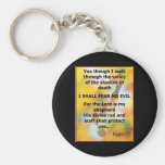 Fear No Evil Psalm Scripture spray painting Key Chain