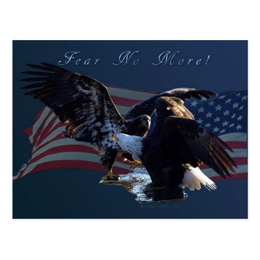 """""""Fear No More!"""" Eagle/US Flag Gift Postcard"""