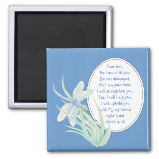Fear Not, Isaiah Scripture Dragonfly Blue, Green 2 Inch Square Magnet