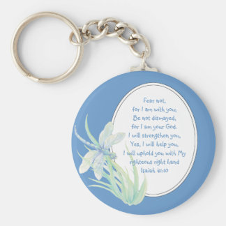Fear Not, Isaiah Scripture Dragonfly Blue, Green Keychain