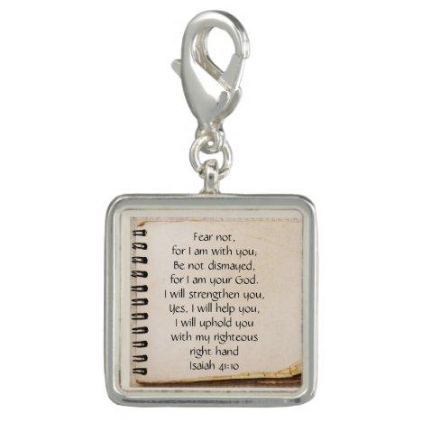 Fear Not, Isaiah Scripture Vintage Note Paper Charm