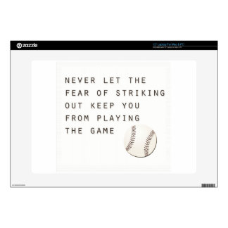 "fear of striking out inspirational modern baseball 15"" laptop decal"