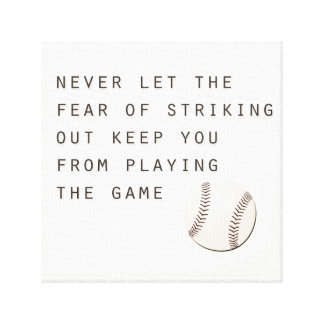 fear of striking out inspirational modern baseball canvas print