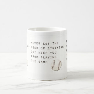 fear of striking out inspirational modern baseball coffee mug