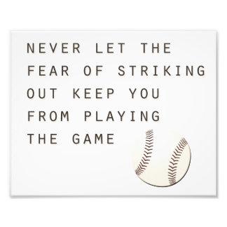 fear of striking out inspirational modern baseball photo print