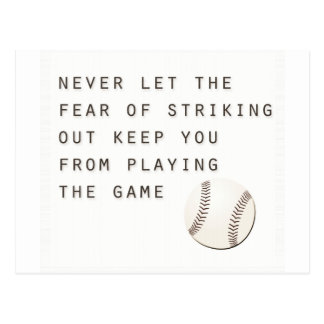 fear of striking out inspirational modern baseball postcard