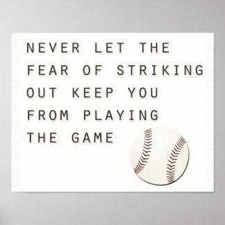 fear of striking out inspirational modern baseball poster