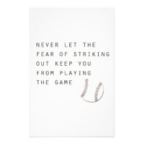 fear of striking out inspirational modern baseball stationery