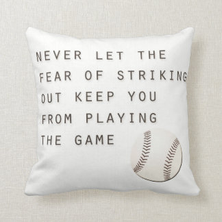 fear of striking out inspirational modern baseball throw pillow