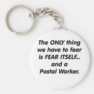 Fear postal worker basic round button keychain