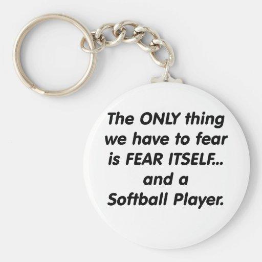 Fear Softball Player Basic Round Button Keychain
