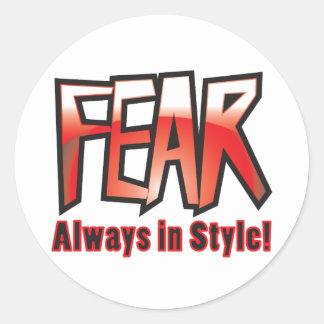 fear round stickers