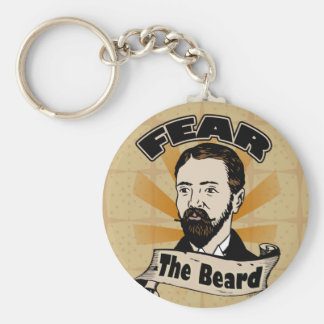 Fear the Beard, Funny Mustache Basic Round Button Keychain