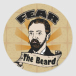 Fear the Beard, Funny Mustache Classic Round Sticker