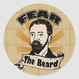 Fear the Beard, Funny Mustache Classic Round Sticker
