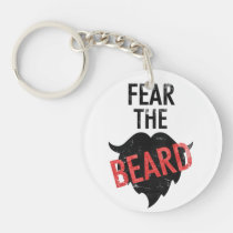 beard, cool, funny, mustache, fear the beard, men, humor, vintage, hipster, unique, goatee, fear, bro, barber, shop, dad, man, typography, keychain, [[missing key: type_aif_keychai]] com design gráfico personalizado