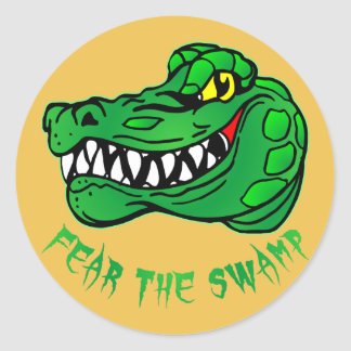 Fear The Swamp Gator Classic Round Sticker