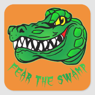 Fear The Swamp Gator Square Sticker