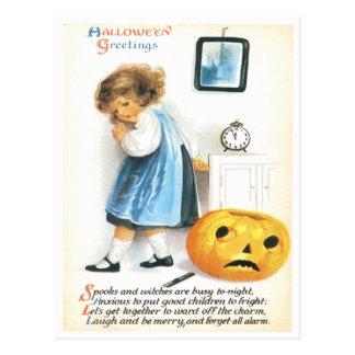 Fearful Little Girl And Pumpkin Vintage Postcard