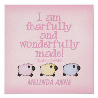 Fearfully and Wonderfully Made 12x12 Print - Pink