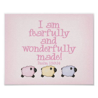 Fearfully and Wonderfully Made 8x10 Print - Pink Poster