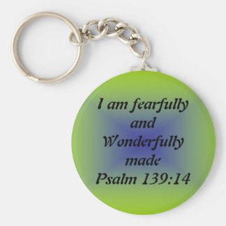 Fearfully and wonderfully made basic round button keychain