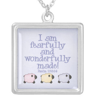 Fearfully and Wonderfully Made - Blue Square Pendant Necklace