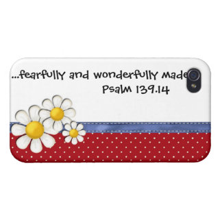 Fearfully and Wonderfully Made Denim Dots..Daisies iPhone 4 Covers