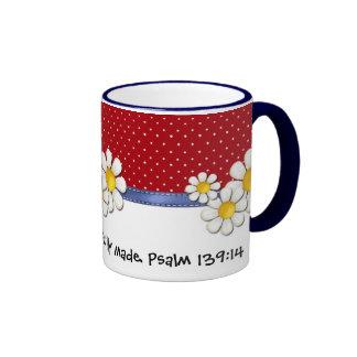 Fearfully and Wonderfully Made Denim Dots..Daisies Mug
