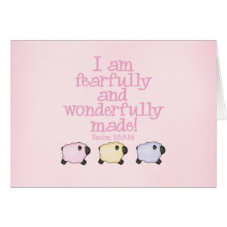 Fearfully and Wonderfully Made - Pink Stationery Note Card